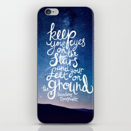 Eyes on the stars quote white lettering iPhone Skin