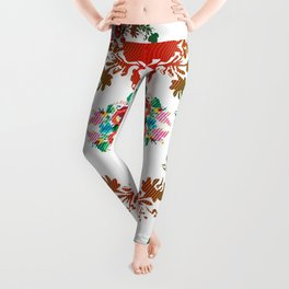 Hungarian 'matyo' folklore styled artwork Leggings