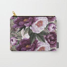 Purple Plum Pink Watercolor Peonies and Greenery Carry-All Pouch