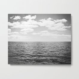 Black and White Ocean Landscape Photography, Neutral Grey Seascape, Clouds Horizon Sea Beach Metal Print