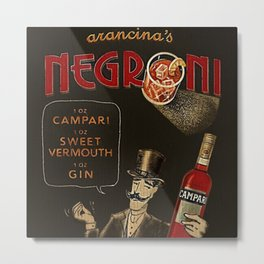 Arancina's Negroni Campari Italian Sweet Vermouth with Gin Red Vintage Advertising Poster Metal Print