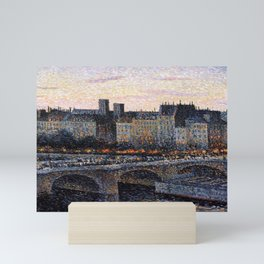 Paris City Lights & Twilight Skyline along the River Seine landscape painting by Maximilien Luce Mini Art Print