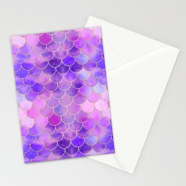 Ultra Violet & Gold Mermaid Scale Pattern Stationery Cards