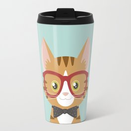 Orange Tabby Hipster Cat Travel Mug