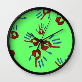 Red palm with blue fingers on neon green Wall Clock