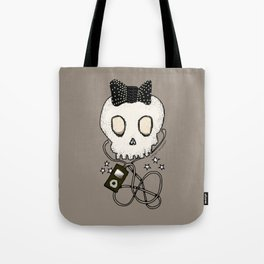 Girly Skull with Black Bow / Die for Music Tote Bag