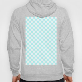 Small Checkered - White and Celeste Cyan Hoody