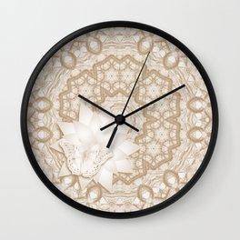 Butterfly on mandala in iced coffee tones Wall Clock