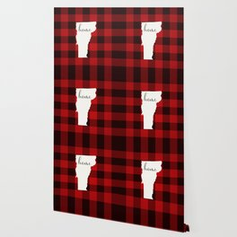 Vermont is Home - Buffalo Check Plaid Wallpaper