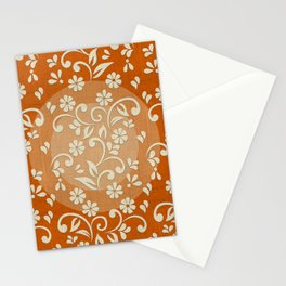 """Beige Flowers & Orange Texture"" Stationery Cards"