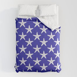 Starfishes (White & Navy Blue Pattern) Comforters