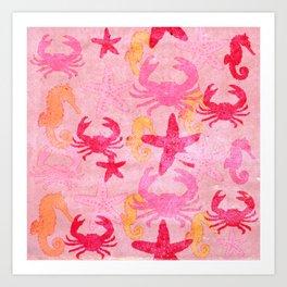Sea World Vintage Pink Art Print