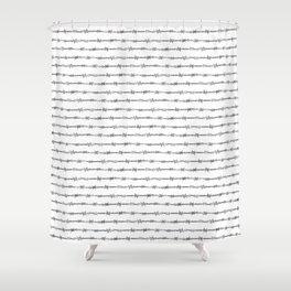 barbed wire stripe - white Shower Curtain