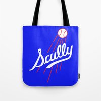 dodgers Tote Bags featuring Vin Scully - Dodgers Logo Themed by Wear More Tees