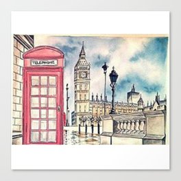 London View watercolor Canvas Print