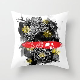 Ink Skull Throw Pillow
