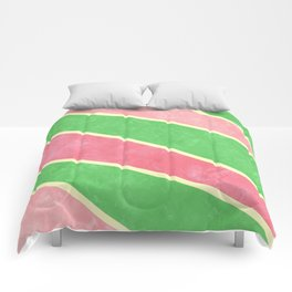 Pink and Green Diagonal Stripes Comforters