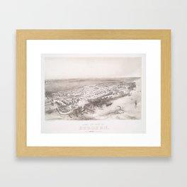 Vintage Pictorial Map of Hoboken NJ (1860) Framed Art Print