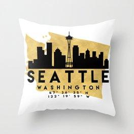 SEATTLE WASHINGTON SILHOUETTE SKYLINE MAP ART Throw Pillow