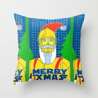 c3po Throw Pillows featuring Santa C3PO by Xenia Pirovskikh