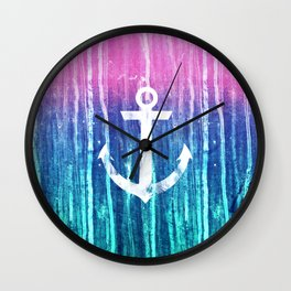 Nautical Anchor Pink Teal Watercolor Stripes Drips Wall Clock