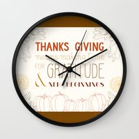 thanksgiving Wall Clocks featuring ThanksGiving by joannaciolek