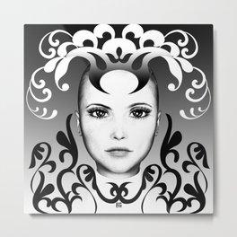 Black and white ornamental joker Metal Print