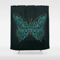 tron Shower Curtains featuring Mechanical Butterfly by Picomodi