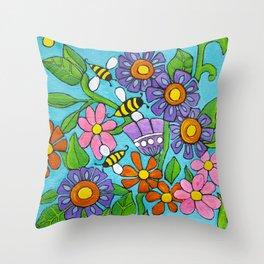 Springtime Series #4 Bee's Throw Pillow