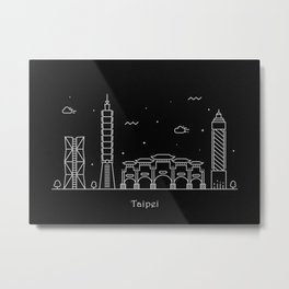 Taipei City Minimal Nightscape / Skyline Drawing Metal Print