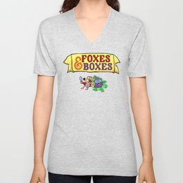 Foxes & Boxes Logo and Characters Unisex V-Neck