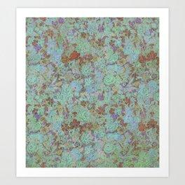 Flowers Under - Cool Colors Art Print