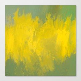 Jubilant 12 - Abstract Modern - Sunshine Yellow Gold Sage Green Canvas Print