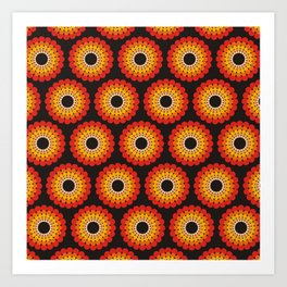 Orange red circled polka dots on black Art Print