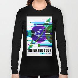 NASA Space Saturn Shuttle Retro Futuristic Explorer Blue Long Sleeve T-shirt