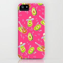 Funny summer modern avocado guacamole cartoon music band pattern illustration iPhone Case