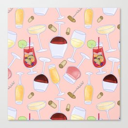 Happy Wine Pattern Canvas Print