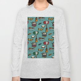 Toy Instruments on Teal Long Sleeve T-shirt