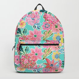 Fun Bright Whimsical Preppy Floral Print / Pattern Backpack