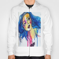 blue haired girl Hoody