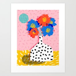 In There - throwback retro still life flower vase abstract minimal dots painting flower florals Art Print