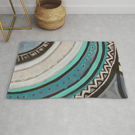 Grey and Blue mandala pattern Painting Rug
