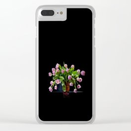 Pink tulips bouquet in glass vase Clear iPhone Case