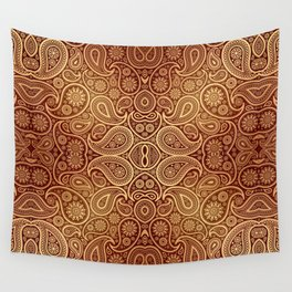 Copper Boho Paisley Pattern Wall Tapestry
