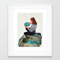 turquoise Framed Art Prints featuring TURQUOISE by Beth Hoeckel