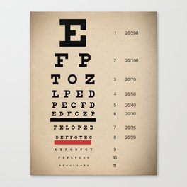 Vintage Inspired Eye Chart - Visual Acuity - Vintage Eye Chart - Distressed Canvas Textured Canvas Print