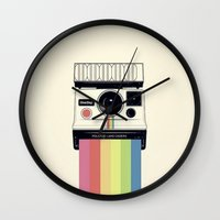 polaroid Wall Clocks featuring polaroid. by Pink Berry Patterns