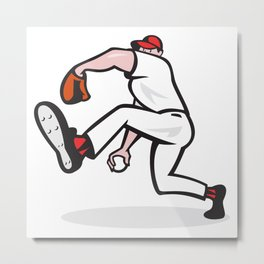 Baseball Pitcher Throwing Ball Cartoon Metal Print