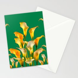 DECORATIVE GREEN ART GOLDEN CALLA LILIES Stationery Cards