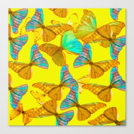 Butterflies - turquoise wings - yellow background #Society6 #buyart Canvas Print